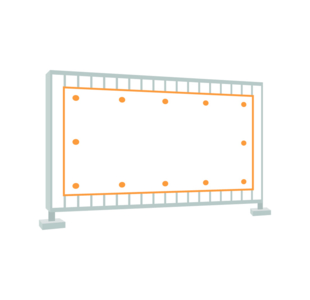Construction fence banner (Frontlit 510 g/m²)